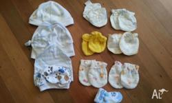 4 newborn baby hats, 3 pairs of hands protection. 3