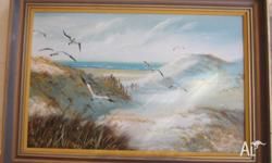 Nice Large Oil on Board Seascape with Ocean Gulls with