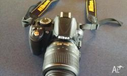 Hardly used Nikon d3100 camera with the 18-55mm kit