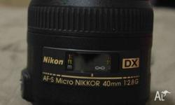 Nikon Lens 40mm f�2.8G Near new, no scratches, marks or