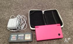 Nintendo DSi. Pink, barely used. Hard case, charger and