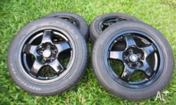 "4 x 16"" Nissan Rims Gloss Black Stud Pattern 5x120mm"