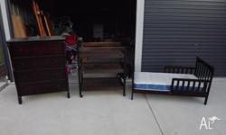 Matching solid pine timber nursery suite including a