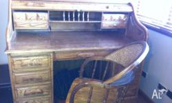 Solid wooden bureau�desk with matching chair Dimensions
