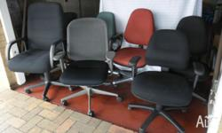 Office chairs various styles and colours � black, red,