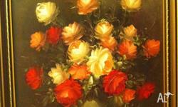 Beautiful Oil Painting (Basket of Flowers) Gold Frame