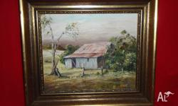 Oil painting of rural scene-old barn. Very nice frame.