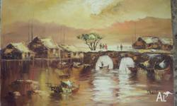 Oil paintings from Hong Kong circa 1970 1 60cm x 90 cm