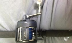 Okuma t20 lever drag reel with braid and shimano blue