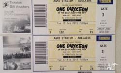 Selling 2 one direction tickets in Adelaide concert for