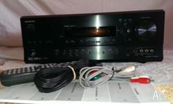 Onkyo AV Receiver (amplifier); flat black in colour.