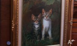 This is an original oil painting of two kittens in a