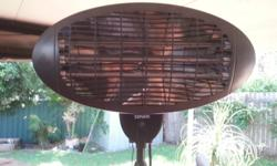 Outdoor heater great for cool evenings heats a large