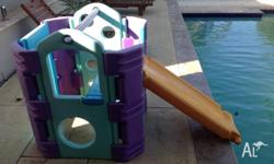 Outdoor kids play gym with slide that converts to a