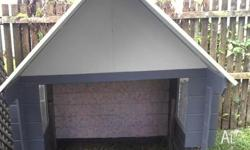 Gun metal grey painted cubby - wood with tin roof Could