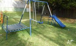 Outdoor swing set with slide and mini trampoline - free