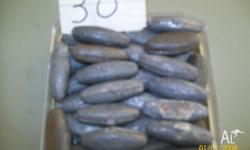 oval sinkers 30 altogether in good condition