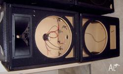 Used pair of unloaded 15 inch Leem Speaker Boxes. These