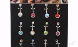 14G DOUBLE GEM CRYSTAL BELLY BARS NAVEL RINGS * 316 L