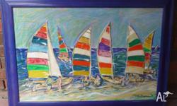 a large painting of a yachting scene is offered for