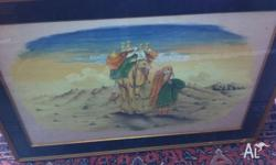 Painting on silk fabric of a Desert scene from the