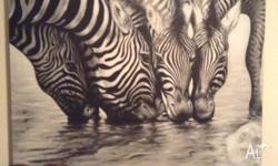 Amazing Zebra collective painting . 138 cm wide by 118