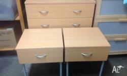 Pair Light wood single drawer bedside tables 60cm high