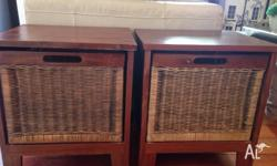 2 x Bedside Tables with Basket Drawers Great for