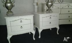 stunning ornate pair of french provincial style bedside