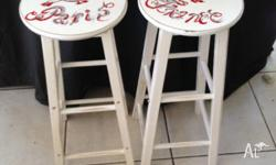 VERY PRETTY PAIR OF STOOLS , HANDPAINTED FRENCH SIGN ,