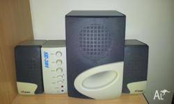 An excellent 4 piece sound system with sub-woofer.