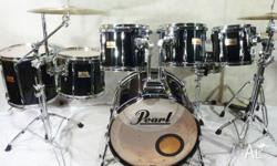 Pearl 90's MLX 7pce Midnight Black Lacquer Maple Kit