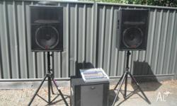 XR1212 powererd mixer 1200 watt with SP5BX speakers on
