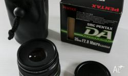 Pentax 35mm f/2.8 Macro Limited lens. Comes in original