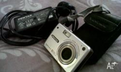 Pentax Optio A10 digital camera, battery, memory card,