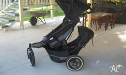 Phil and Ted stroller with double seat, raincoverand