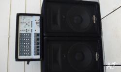 Phonic PA system including powered mixer with 4 mono