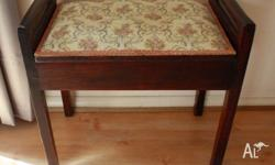 Hardwood upholstered piano stool with storage under the