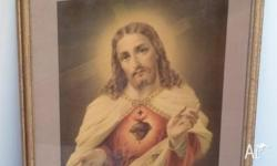 Picture of Jesus 54cms by 44cms. Old gold, vintage
