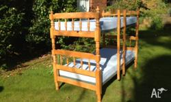 Colonial style pine bunk bed with ladder. Supplied with