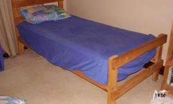 Pine single bed only. Linen and mattress not included.