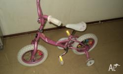 Girl Bike suitable for ages 3 to 5. Used but in good