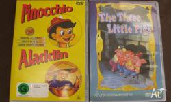 I have two DVDs for sale. 1. Pinocchio and Aladdin 2.