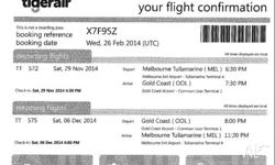 A plane ticket from Melbourne to Gold Coast including