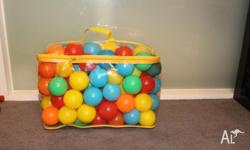 over 100 plastic balls with multi colors at very good
