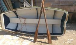 light weight plywood dinghy 2.4 metres long and 1.1 m