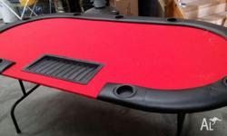 red top poker table - small tear on one end comes 2m
