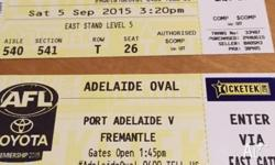 2 x AFL Tickets (Hard Copy) $50 for BOTH! PORT v