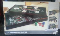 Portable 3 in 1 Big Casino Game Set Featuring : Craps