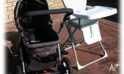 Pram and high chair in 'as new' condition. To be